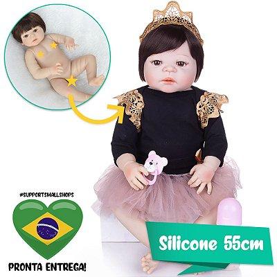 Bebê Reborn 55cm Nise Toda em Silicone - Pronta Entrega!