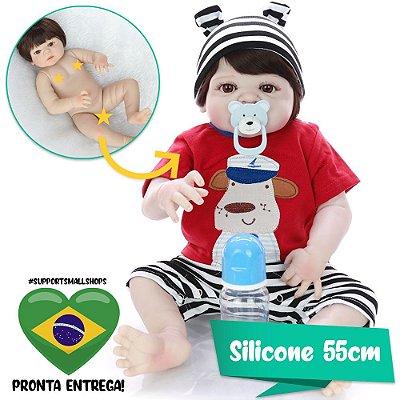 Bebê Beborn Getúlio 55cm Roupinha de Cachorro Marinheiro - Pronta Entrega!