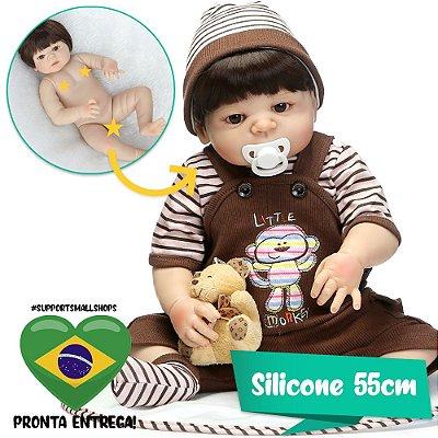 Bebê Reborn João 55cm com Macacão Marrom - Pronta Entrega!