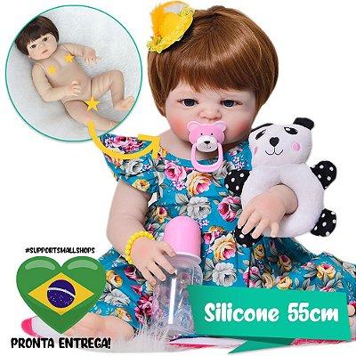 Bebê Reborn Bruna Ruivinha com Pandinha 55cm - Pronta Entrega!