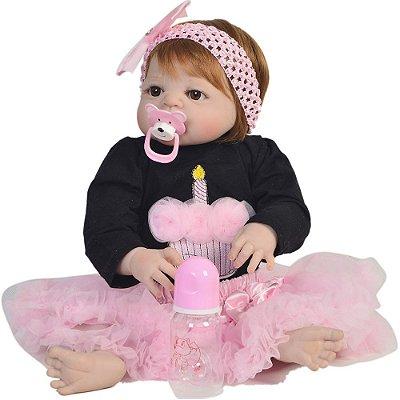 Bebê Reborn Alexa Ruiva 55cm Toda em Silicone - Pronta Entrega!