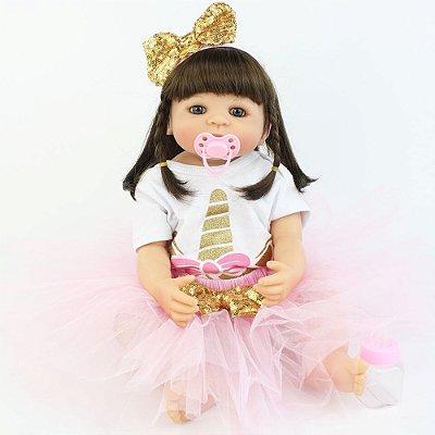 Bebê Reborn Paloma 55cm com Headband Dourado