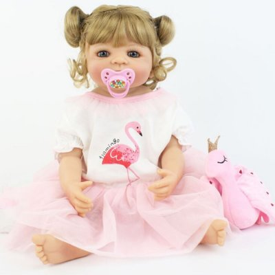 Bebê Reborn Potira Flamingo 55cm Toda em Silicone