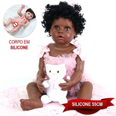 Bebê Reborn Gleice 55cm com Vestido Rosa