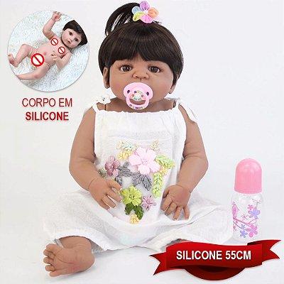 Bebê Reborn Gabrieli 55cm com Vestidinho Floral
