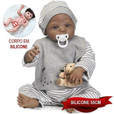Bebê Reborn Yvonne 55cm em Silicone com Ursinho