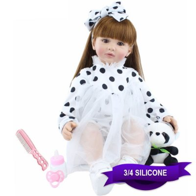 Bebê Reborn Geovanna 60cm com Panda e Vestido Poá