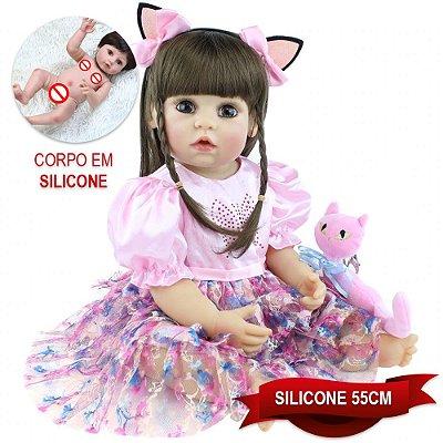 Bebê Reborn Lindaura 55cm com Headband de Gatinho e Pelúcia