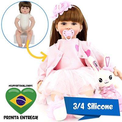 Bebê Reborn Helena 60cm em 3/4 Silicone com Coelhinho - Pronta Entrega!