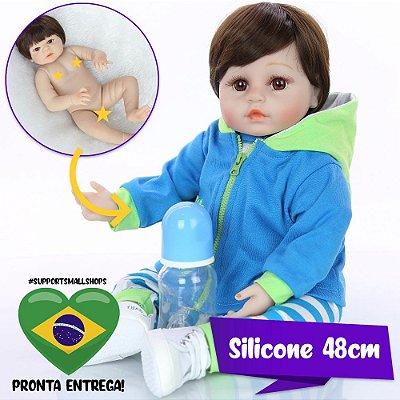 Bebê Reborn Jefferson 48cm Todo em Silicone - Pronta Entrega!