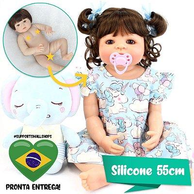 Bebê Reborn Perla 55cm Toda em Silicone com Elefantinho - Pronta Entrega!