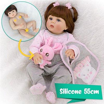 Bebê Reborn Karen Meow! 55cm Acompanha Coelhinho