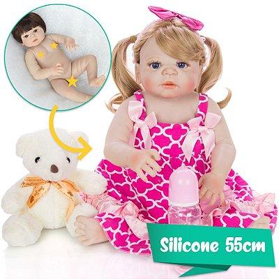 Bebê Reborn Petra 55cm com Vestidinho Rosa e Ursinho