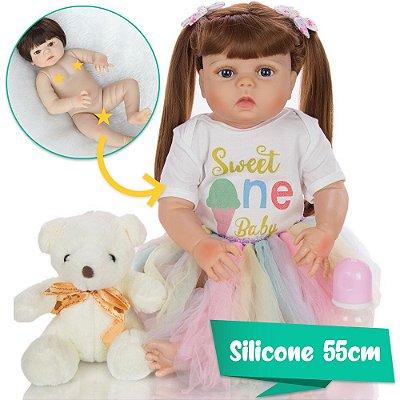 Bebê Reborn Phoebe 55cm Sweet One Baby com Ursinho!