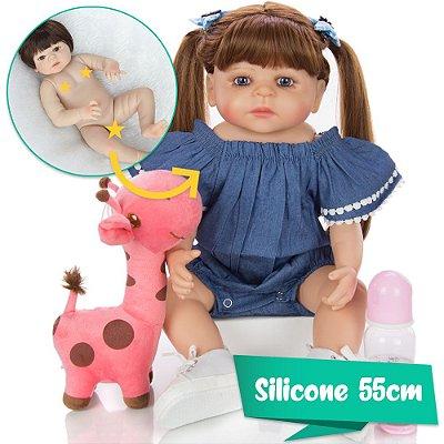 Bebê Reborn Polly 55cm Toda em Silicone Pode dar Banho!
