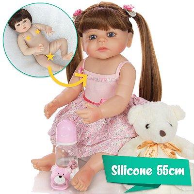 Bebê Reborn Preciosa 55cm com Vestidinho Floral