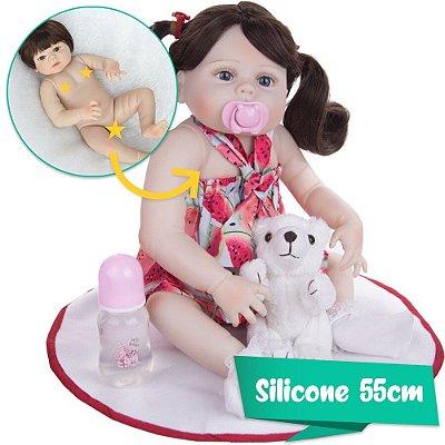 Bebê Reborn Toda de Silicone 55cm com Enxoval Melancia