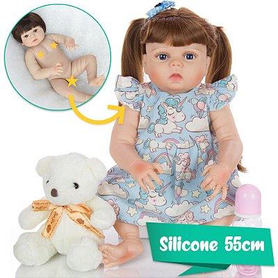 Bebê Reborn Pina 55cm em Silicone com Vestidinho Dreams
