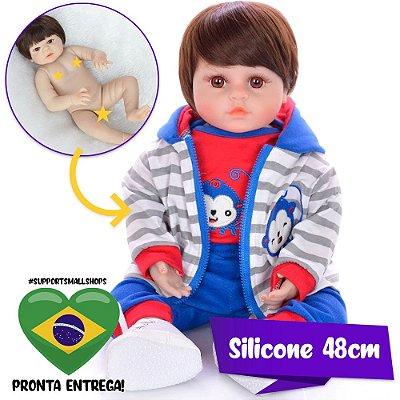 Bebê Reborn Pedro 48cm Todo em Silicone - Pronta Entrega!