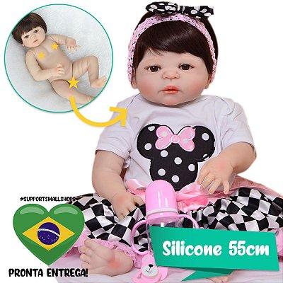 Bebê Reborn Agatha Miney 55cm em Silicone - Pronta Entrega!