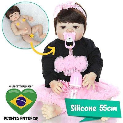 Bebê Reborn Carolina 55cm com Saia Rosa - Pronta Entrega!