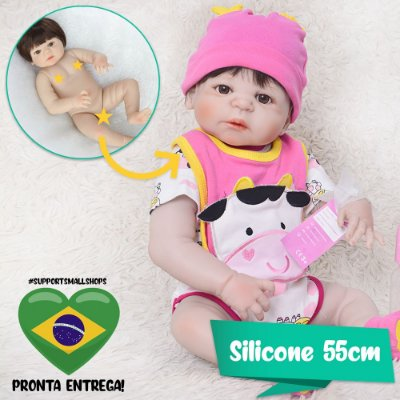 Bebê Reborn Marina Cow 55cm Toda em Silicone - Pronta Entrega!