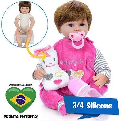 Bebê Reborn Larinha 42cm 3/4 Silicone Campeã de Vendas - Pronta Entrega!