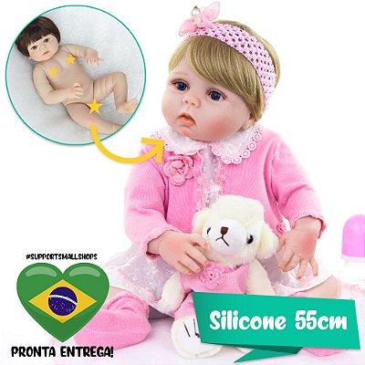 Bebê Reborn Aline 55cm em Silicone com Ursinho Branco - Pronta Entrega!