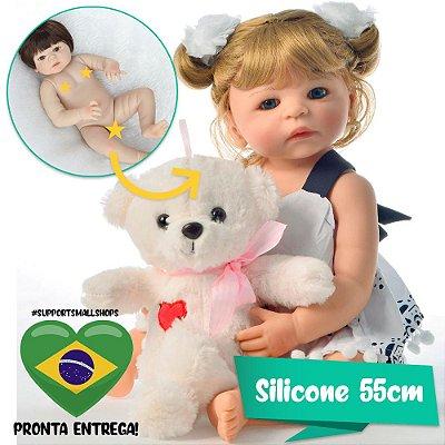 Bebê Reborn Ayla Loirinha 55cm com Urso Grande - Pronta Entrega!