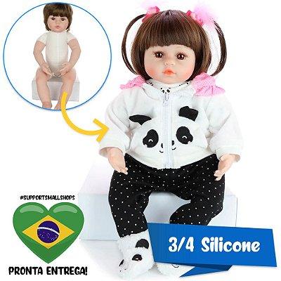 Bebê Reborn Catarina Pandinha 48cm 3/4 Silicone - Pronta Entrega!