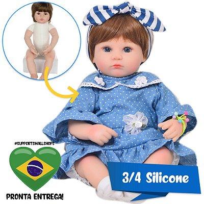 Bebê Reborn Milena 42cm 3/4 Silicone com Ursinho - Pronta Entrega!