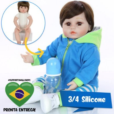 Bebê Reborn Bruno 48cm 3/4 Silicone com Girafinha - Pronta Entrega!