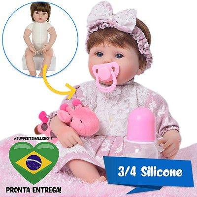 Bebê Reborn Íris 42cm em 3/4 Silicone com Girafinha - Pronta Entrega!