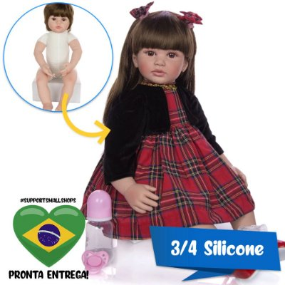 Bebê Reborn Milena 60cm em 3/4 Silicone com Enxoval Xadrez - Pronta Entrega!