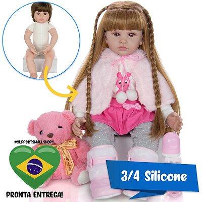 Bebê Reborn Mariana 60cm 3/4 Silicone com Ursinho - Pronta Entrega!