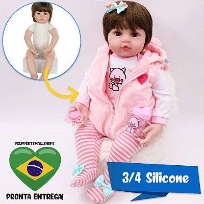 Bebê Reborn Hilary 48cm em 3/4 Silicone - Pronta Entrega!