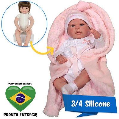Bebê Reborn 40cm com Olhos Abertos Baby Brink Original - Pronta Entrega!