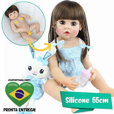 Bebê Reborn Raquel 55cm com Coelhinho e Pente - Pronta Entrega!