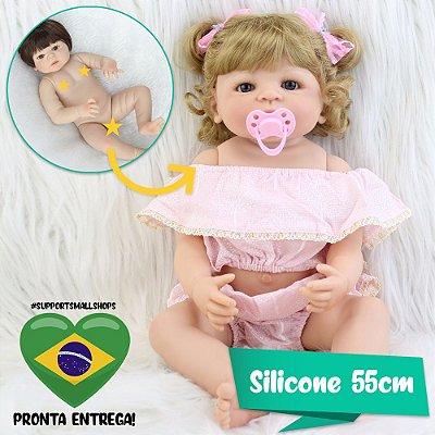 Bebê Reborn Junie 55cm Toda em Silicone - Pronta Entrega!