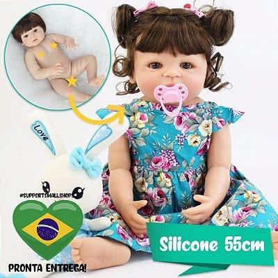 Bebê Reborn Letícia 55cm em Silicone com Coelhinho - Pronta Entrega!
