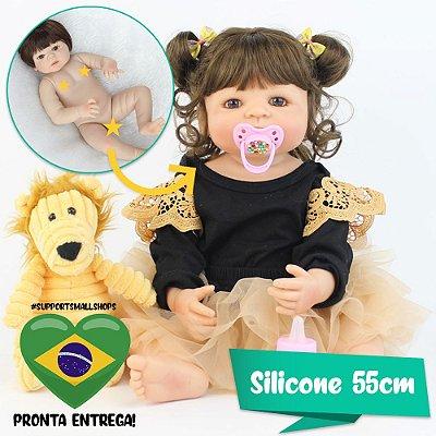 Bebê Reborn Jessica Silicone 55cm com Leãozinho - Pronta Entrega!