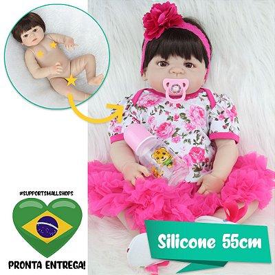 Bebê Reborn Miley Silicone 55cm com Enxoval Floral - Pronta Entrega!