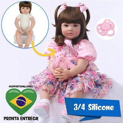 Bebê Reborn 60cm Julia 3/4 em Silicone com Ursinho Rosa - Pronta Entrega!