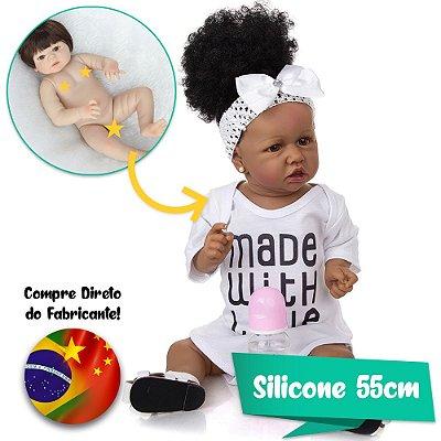 Bebê Reborn Jéssica 55cm Made With Love com Cabelo Cacheado