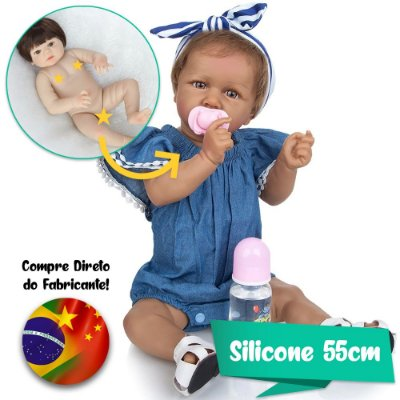 Bebê Reborn Karol 55cm Linda Moreninha Toda em Silicone - Lançamento 2020!