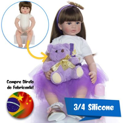 Bebê Reborn Agatha 60cm 3/4 Silicone com Acessórios Luxuosos