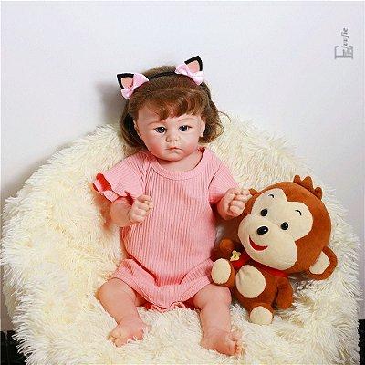 Bebê Reborn Emily 55 cm Corpinho Todo em Silicone