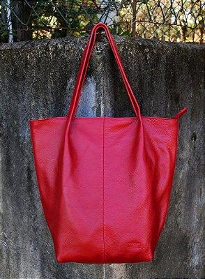 Bolsa Feminina de Couro Legítimo Minimalista Sacola Vermelha