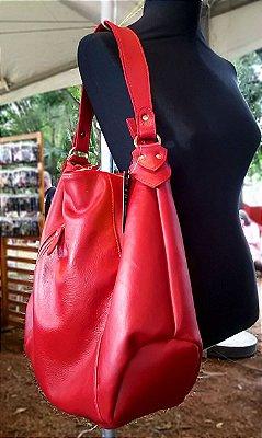 Bolsa Feminina de Couro Legítimo Hobo Vermelha