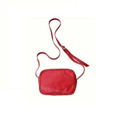 Bolsa Feminina Transversal de Couro Basic Vermelha